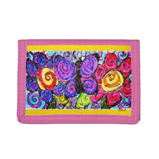 Butterfly flowers fun trifold wallets