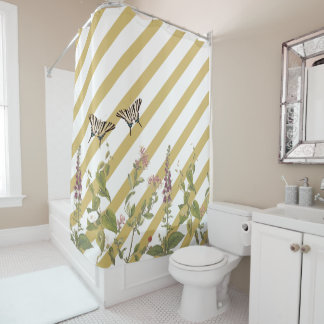 Butterfly Flowers Gold White Stripe Shower Curtain