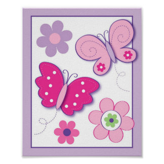 Butterfly Flowers Nursery Wall Art Print 8X10