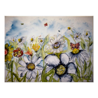 butterfly flowers painting poster print