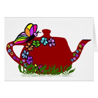 Butterfly flowers tea pot blank card
