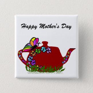 Butterfly flowers tea pot button