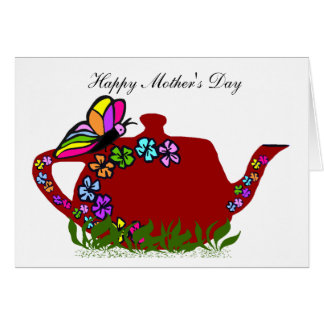 Butterfly flowers tea pot, Happy Mother's Day card