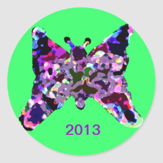 Butterfly For Good Luck For New Year Classic Round Sticker