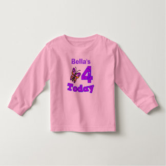 Butterfly Fourth Birthday Girl Shirt