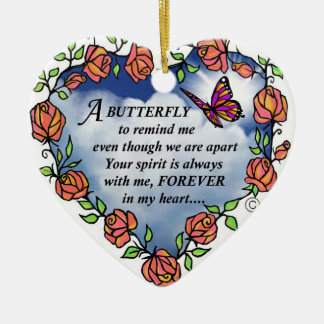 Butterfly from Heaven Ceramic Heart Ornament