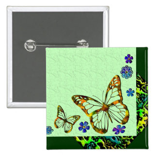 Butterfly Garden 2 Inch Square Button