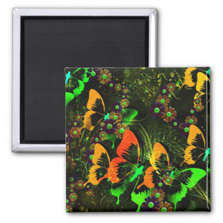 Butterfly Garden 2 Square Magnet