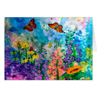 Butterfly Garden Portrait Greeting Card