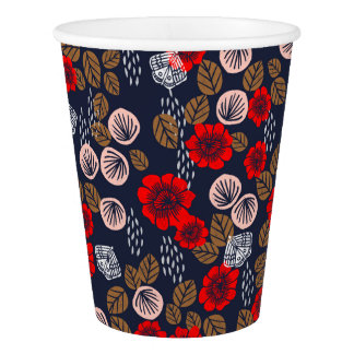 Butterfly Garden Red Pink Blue Brown Andrea Lauren Paper Cup
