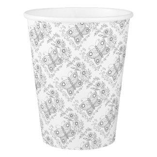 Butterfly Garden Two Line Art Design Paper Cup