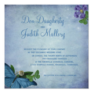 "Butterfly Garden Wedding Invitation 5.25"" Square Invitation Card"