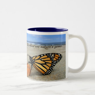 Butterfly gems - blue  by TDGallery Two-Tone Coffee Mug