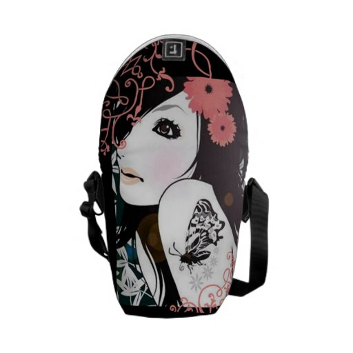 Butterfly Girl Floral Swirls Messenger Bag