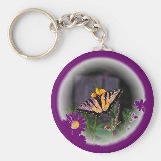 Butterfly Globed - purple Basic Round Button Keychain