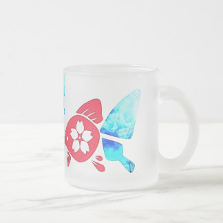 Butterfly goldfish frosted glass coffee mug