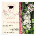 Butterfly Graduation Invite - Black White Colour