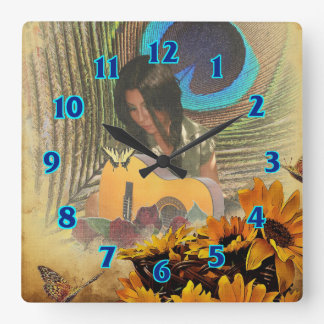 Butterfly Guitar Girl Wall Clock
