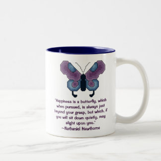 "Butterfly, ""Happiness is a butterfly, which whe... Two-Tone Coffee Mug"