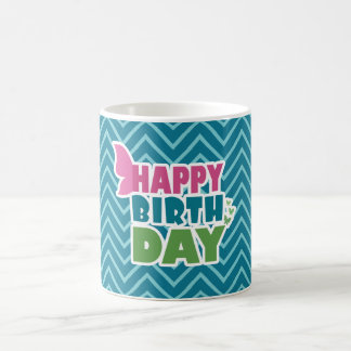 Butterfly happy birthday blue zig zag mug