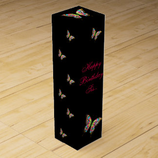 Butterfly Happy Birthday Sister Wine Gift Box