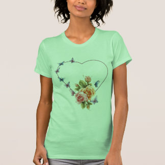 butterfly heart with roses lady's tshirt - lady