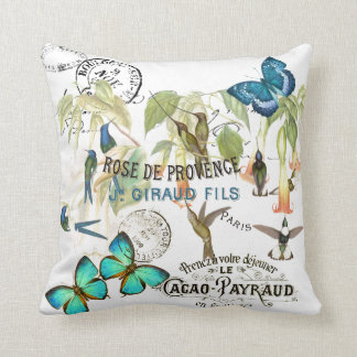 Butterfly Hummingbird Flowers French Cacao Pillow