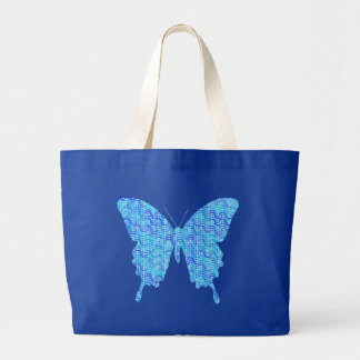 Butterfly image, abstract pattern, shades of blue jumbo tote bag