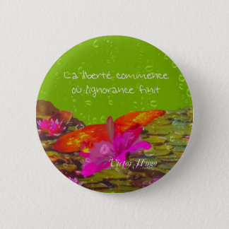 Butterfly in a pond. 2 inch round button
