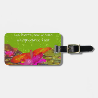 Butterfly in a pond. bag tag