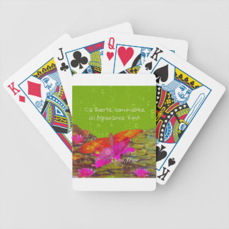 Butterfly in a pond. bicycle playing cards