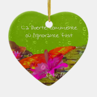 Butterfly in a pond. ceramic heart ornament