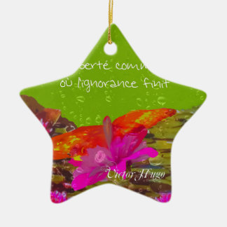 Butterfly in a pond. ceramic star ornament