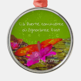 Butterfly in a pond. Silver-Colored round ornament