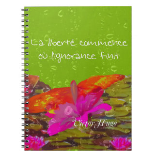 Butterfly in a pond. spiral notebook