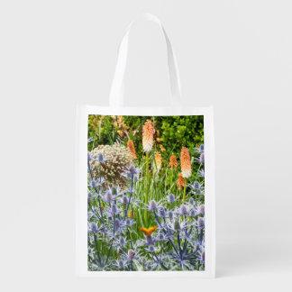 Butterfly In A Summer Garden Grocery Bags