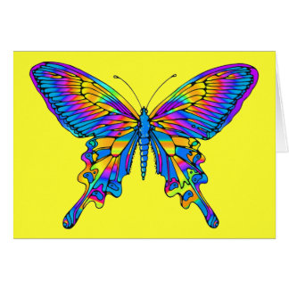 Butterfly in Beautiful Multi-Color with Blue Card