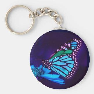 Butterfly in Blue Light Keychain