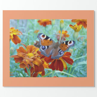 Butterfly In Colorful Garden Wrapping Paper