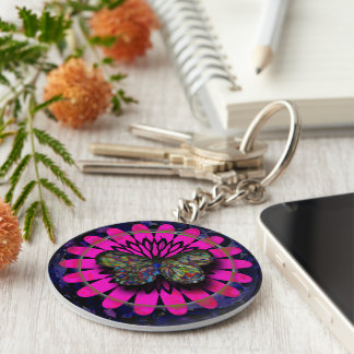 Butterfly in dish keychain