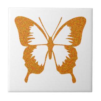 Butterfly in Gold Metallic Ceramic Tile