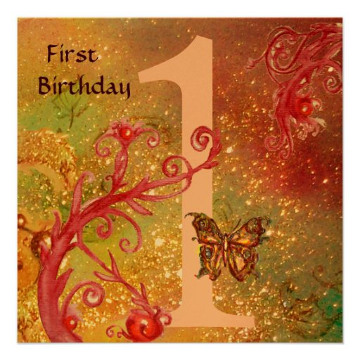 BUTTERFLY IN GOLD SPARKLES 2  First Birthday Party Invitation