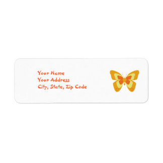 Butterfly in orange and yellow return address label