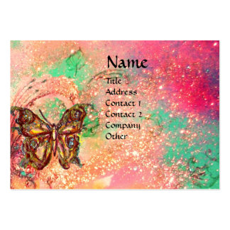 BUTTERFLY IN PINK FUCHSIA GOLD SPARKLES LARGE BUSINESS CARD