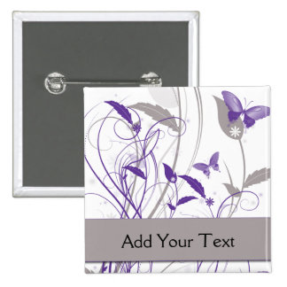 Butterfly in Purple and Grey 2 Inch Square Button
