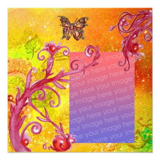 BUTTERFLY IN SPARKLE 2 photo template yellow red Custom Announcements