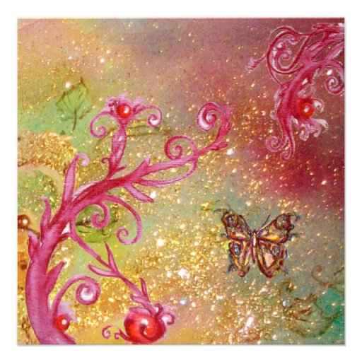 BUTTERFLY IN SPARKLES 2 , Elegant Wedding Party Custom Invites