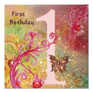 BUTTERFLY IN SPARKLES 2 ,  First Birthday Party 1 Personalized Invites