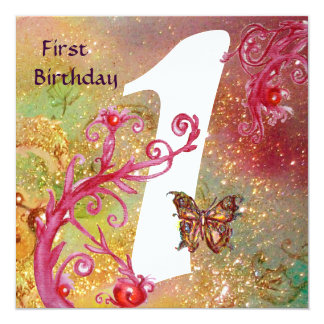 BUTTERFLY IN SPARKLES 2 ,  First Birthday Party 1 Invitations