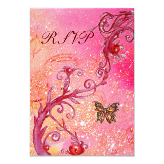 """BUTTERFLY IN  SPARKLES RSVP, Elegant Wedding Party 3.5"""" X 5"""" Invitation Card"""